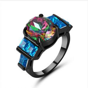 Jewelry - Mystic Rainbow Topaz Blue 10K Black Gold Ring 8 GF